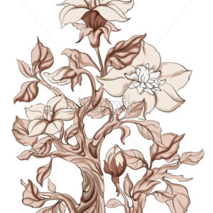 Abstract gladiolus flowers with stem in monochrome style. Vector - Starpik Stock