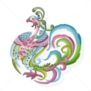 Abstract shape peafowl with colorful feathers and ornaments. Vector - Starpik Stock