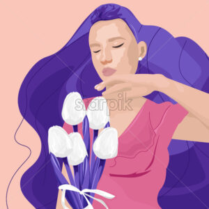 Abstract young woman with purple hair holding white tulip flowers. Colorful spring Vector - Starpik Stock
