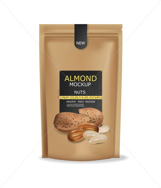 Almond nuts isolated vector realistic mock up. Raw vegan delicious snack. 3d detailed design product package - Starpik Stock