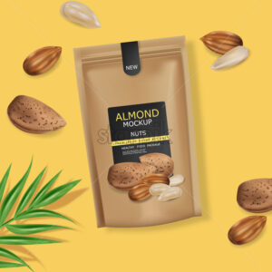 Almond nuts vector realistic mock up. Raw vegan delicious snack. 3d detailed design product package - Starpik Stock