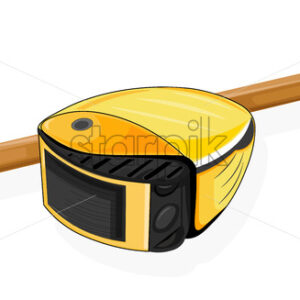 Architect or designer starter pack with yellow tape measure and pencil. Vector - Starpik Stock