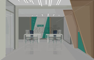 Bank interior design concept with green colors. Chairs for serving people. Vector - Starpik Stock