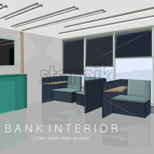 Bank interior design concept with green colors. Chairs for waiting. Vector - Starpik Stock