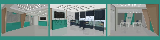 Bank interior design concept with green colors. Chairs for waiting. Vector set - Starpik Stock