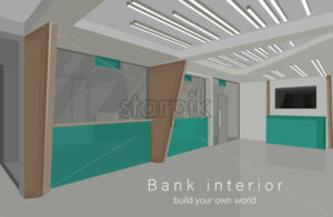 Bank interior design concept with green colors. Vector - Starpik Stock