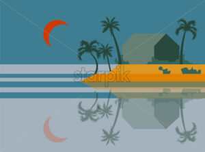 Beach at dawn with palm trees and orange moon in the sky. Island reflecting on water. Vector - Starpik Stock