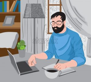 Bearded man working at the laptop and writing down some ideas while enjoying a cup of coffee.Vector - Starpik Stock