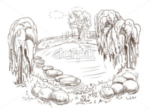 Beautiful drawn landscape of a lake surrounded by trees, rocks and bushes. Vector - Starpik Stock
