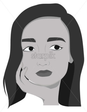 Beautiful girl posing. Drawing. Black and white. Portrait. Vector - Starpik Stock