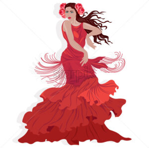 Beautiful lady in red dress with rose flowers in hair dancing oriental moves. Vector - Starpik Stock