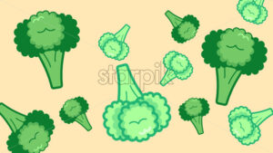 Big and small green broccoli on beige background. Vector - Starpik Stock