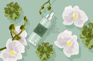 Bio cosmetics composition with white orchid flowers and green leaves, cactus. Perfume bottle. Vector - Starpik Stock