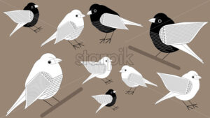 Black and white paper style birds on branches. Vector - Starpik Stock
