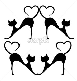 Black silhouette of a cat with tail in shape of heart. Vector - Starpik Stock