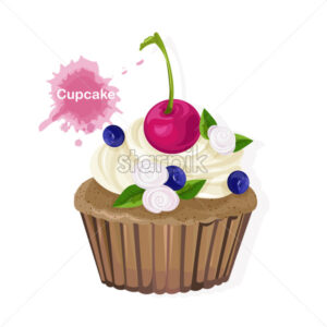 Brown cupcake with white cream ornaments, cherry, blueberries and flowers. Vector - Starpik Stock