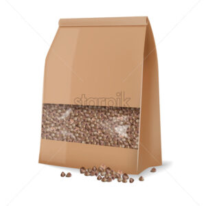 Buckwheat package isolated vector realistic. 3d detailed product package placement - Starpik Stock