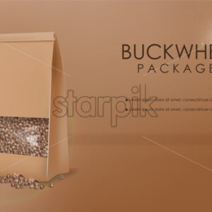 Buckwheat package vector realistic mock up. 3d detailed product placement. Advertise label design - Starpik Stock