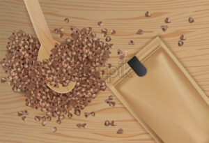 Buckwheat spread vector realistic top view. Product packaging design. Detailed grains on wooden spoon. 3d illustration - Starpik Stock