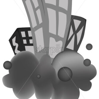 Buildings on a gray cloud. Black and white. Abstract drawing. White background. Vector - Starpik Stock