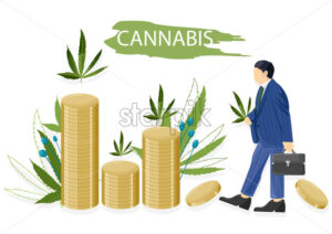 Businessman in blue clothes making money selling cannabis leaves. Vector - Starpik Stock