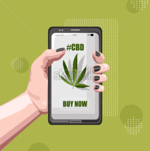 Buy marijuana online with smart phone app. Woman hands holding. Green background. Vector - Starpik Stock