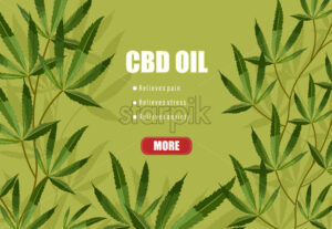 CBD oil list of benefits on green background. Relieves pain, stress and anxiety. Vector - Starpik Stock