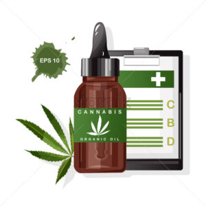 Cannabis organic oil with marijuana leaves. CBD benefits on paper clipboard. Vector - Starpik Stock