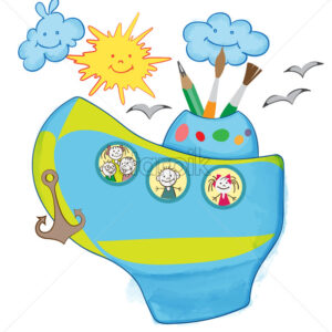 Cartoon childish composition with smiling sun and cloud, children in a boat looking through porthole. Vector - Starpik Stock