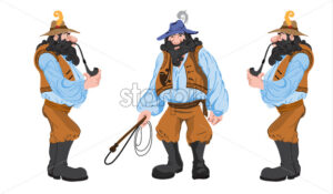Cartoon mystic man with beard and hunting crop smoking a long pipe. Vector set - Starpik Stock