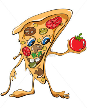 Cartoon pizza slice with sausage and vegetables holding a red tomato. Vector - Starpik Stock