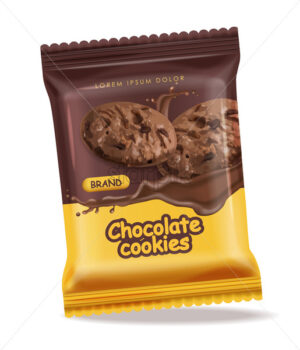 Chocolate cookies isolated vector realistic mock up. Declious dessert falling cookies with chocolate splash. 3d detailed product package - Starpik Stock