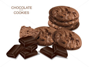 Chocolate cookies isolated vector realistic. 3d detailed dessert - Starpik Stock
