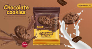 Chocolate cookies vector realistic mock up. Declious dessert falling cookies with chocolate and milk splash. 3d detailed product package - Starpik Stock