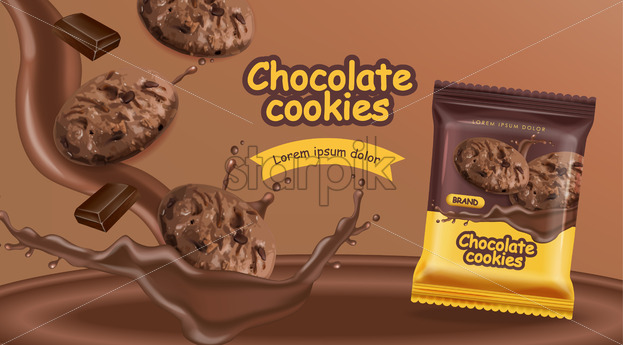 Chocolate cookies vector realistic mock up. Declious dessert falling cookies with chocolate splash. 3d detailed product package. label advertise pack - Starpik Stock