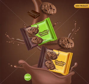 Chocolate cookies vector realistic mock up. Declious dessert falling cookies with chocolate splash. 3d detailed product package. label design poster - Starpik Stock