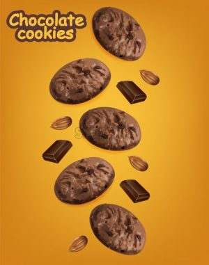 Chocolate cookies vector realistic. Declious dessert falling cookies. 3d detailed product package or label background - Starpik Stock
