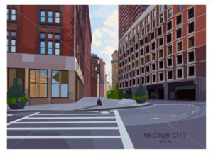 City intersection composition with traffic light and pedestrian crosswalk. Modern buildings at sunset. Vector - Starpik Stock