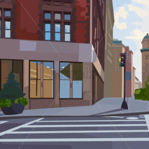 City intersection composition with traffic light and pedestrian crosswalk. Vector - Starpik Stock