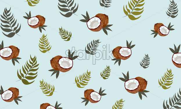 Coconut with leaves and blue background. Pattern. Vector - Starpik Stock