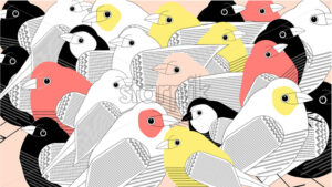 Colorful a lot of birds composition. Pink and yellow color. Beige background. Vector - Starpik Stock