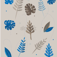 Colorful blue and gray tropical leaves with dotted lines on background. Vector - Starpik Stock