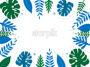 Colorful blue and green tropical leaves with dotted lines on background. Place for text in center Vector - Starpik Stock