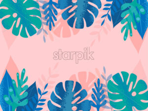 Colorful blue and green tropical leaves with dotted lines on pink background. Place for text in center Vector - Starpik Stock