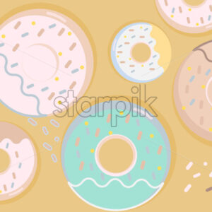 Colorful donuts set with sugar strands on beige background. Big and small size. Vector - Starpik Stock