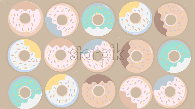 Colorful donuts set with sugar strands on beige background. Vector - Starpik Stock