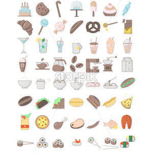 Colorful pack of food and drinks icons. Sweets, bread, coffee, meat, fish and vegetables. Vector - Starpik Stock