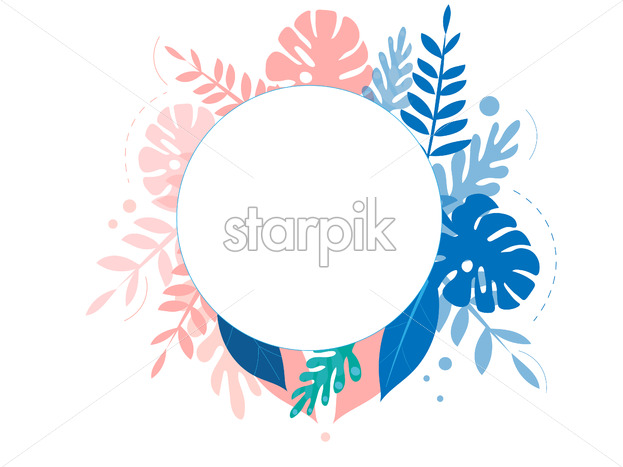 Colorful rose and blue tropical leaves with place for text. Vector - Starpik Stock