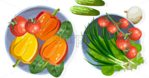Composition of healthy vegetables on table. Tomatoes, cucumber, onion, lettuce, pepper and spinach. Top view Vector - Starpik Stock