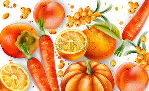 Composition of orange fruits and vegetables. Oranges, carrots, pumpkin, peaches and pyracantha berries. Vector - Starpik Stock